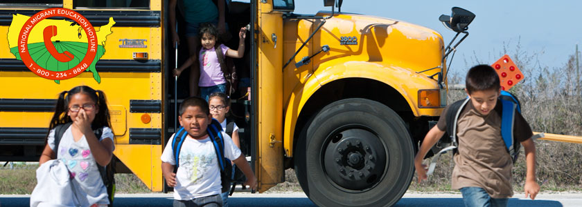 National Migrant Education Hotline Logo in front of school bus